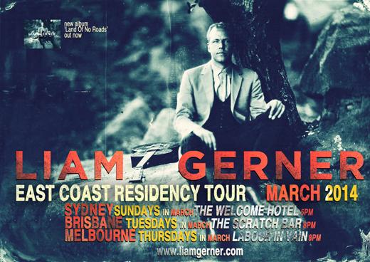 Liam Gerner Mrch 2014 Est Cst Residency Tour Poster FB tour page